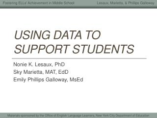 Using Data to support students