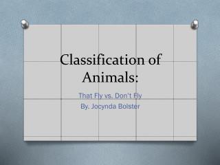 Classification of Animals: