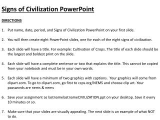 Signs of Civilization PowerPoint DIRECTIONS