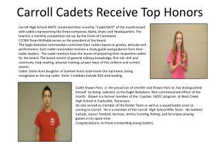 Carroll Cadets Receive Top Honors
