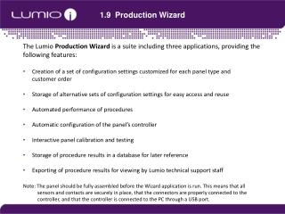1.9   Production Wizard