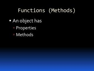 Functions (Methods)