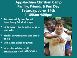 Appalachian Christian Camp Family, Friends & Fun Day Saturday, June  14th 11:00am-4:00pm
