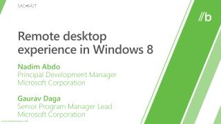 Remote desktop experience in Windows 8