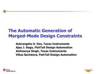 The Automatic Generation of Merged-Mode Design Constraints