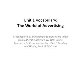 Unit 1 Vocabulary: The World of Advertising