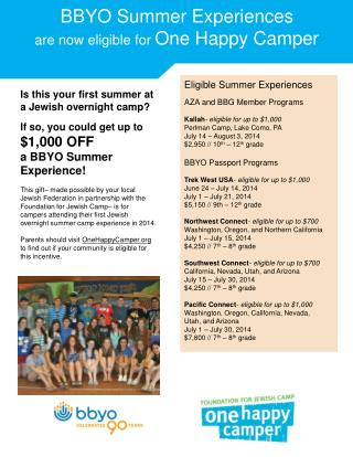 BBYO Summer Experiences are now eligible for  One Happy Camper