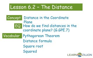 Lesson 6.2 – The Distance Formula