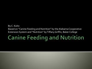 Canine Feeding and Nutrition