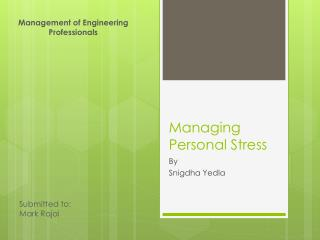 Managing Personal Stress