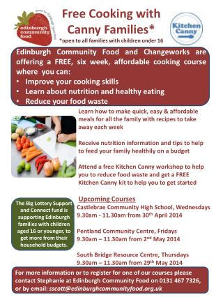Free Cooking with Canny Families*  *open to all families with children under 16