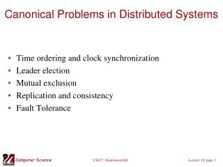 Canonical Problems in Distributed Systems