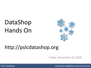 DataShop Hands On