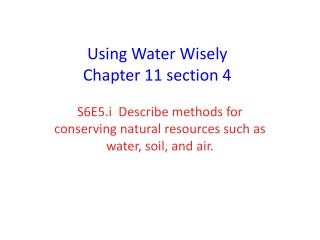 Using Water Wisely Chapter 11 section 4