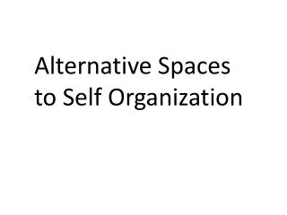 Alternative Spaces  to Self Organization