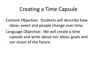 Creating a Time Capsule