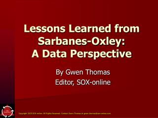 Lessons Learned from Sarbanes-Oxley: A Data Perspective