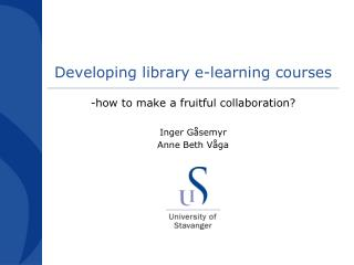 Developing library e-learning  courses