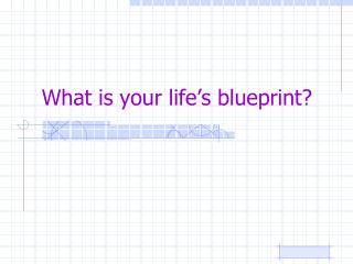 What is your life's blueprint?