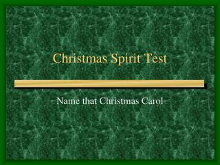 Christmas Spirit Test