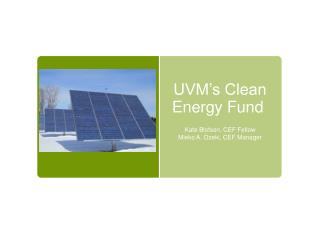 UVM's Clean Energy Fund