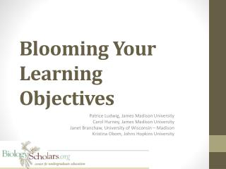 Blooming Your Learning Objectives