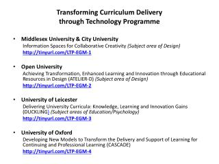 Transforming Curriculum Delivery  through Technology Programme