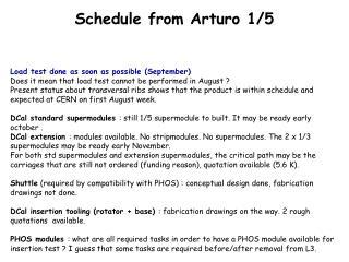 Schedule from Arturo 1/5