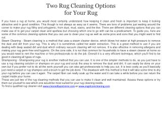 Two Rug Cleaning Options for Your Rug