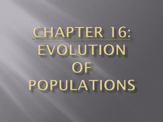 Chapter 16:  Evolution  of  Populations
