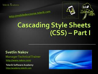 Cascading Style  Sheets (CSS) – Part I
