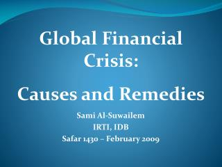 Sami Al-Suwailem IRTI, IDB Safar 1430 – February 2009