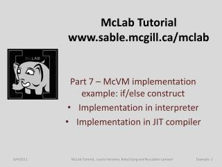 McLab  Tutorial sable.mcgill/mclab