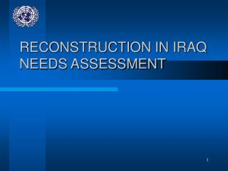RECONSTRUCTION IN IRAQ NEEDS ASSESSMENT