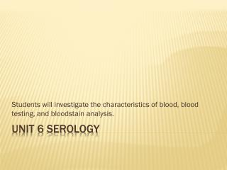 Unit 6 serology
