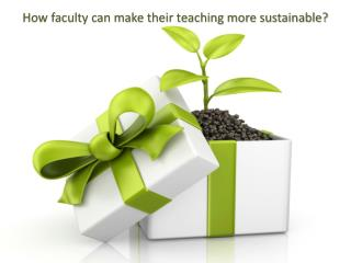How faculty can make their teaching more sustainable?