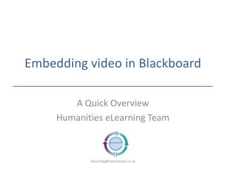 Embedding video in Blackboard