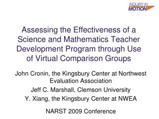 Assessing the Effectiveness of a Science and Mathematics Teacher Development Program through Use of Virtual Comparison G