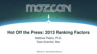 Hot Off the Press: 2013 Ranking Factors