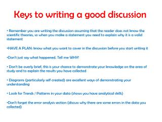 Keys to writing a good discussion