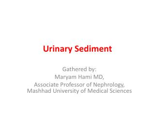 Urinary Sediment