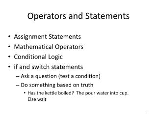 Operators and Statements
