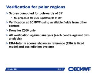Verification for polar regions