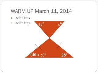 WARM UP March 11, 2014