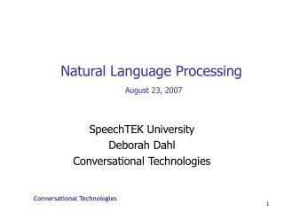 Natural Language Processing August 23, 2007