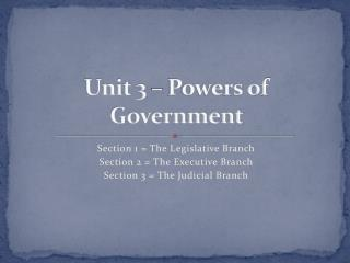 Unit 3 – Powers of Government