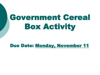 Government Cereal Box Activity