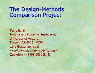 The Design-Methods Comparison Project