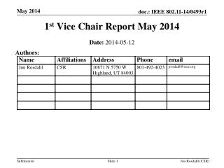 1 st  Vice Chair Report May 2014
