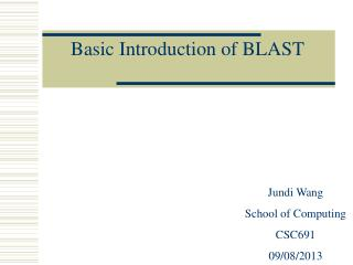 Basic Introduction of BLAST